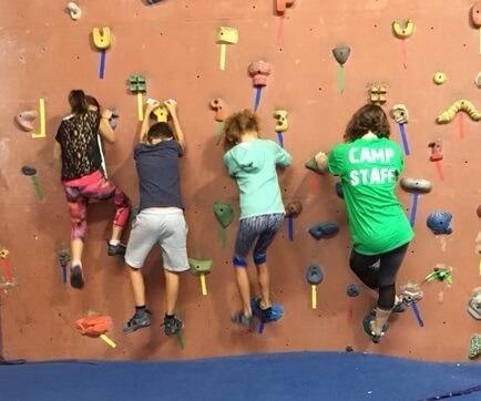 Kids playing a rock climbing game