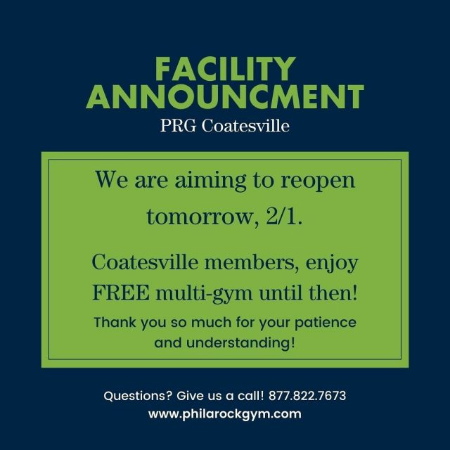 PRG Coatesville Update:   We are still without heat. We are waiting for a part to arrive and will reopen as soon as we are possibly able. We will post an update here when that happens.  Coatesville members, please enjoy FREE multigym access until then! Thanks for your patience and understanding!  If you have any questions, feel free to give any of our open locations a call: 877-822-7673