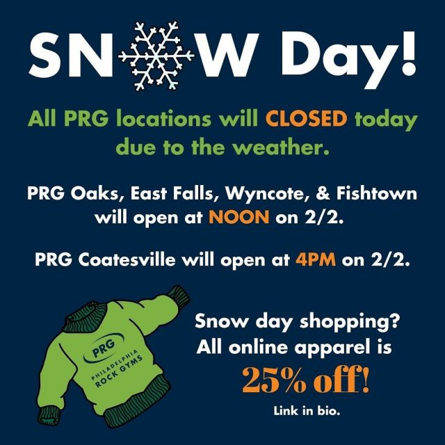 We are CLOSED today due to the weather, but will see you tomorrow!  Until then, enjoy 25% off all online apparel until MIDNIGHT tonight! Link in bio.   #confidencecommunityclimbing #positivelyprg #snowday #snowdaysale #phillyclimbers
