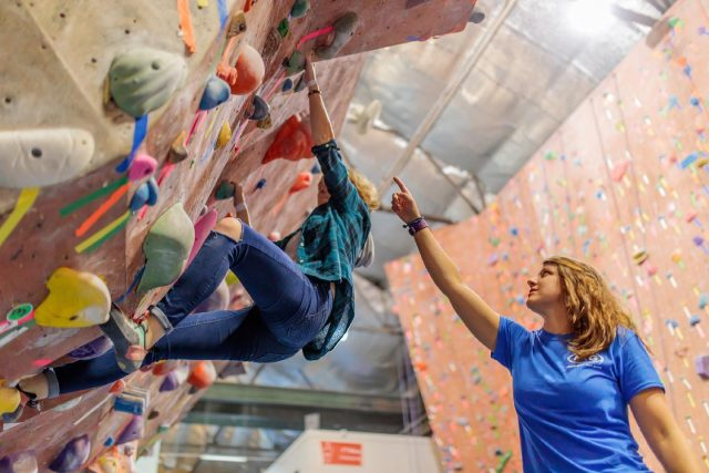 Send your projects, perfect your technique & get better, FASTER!   Our Climbing School coaches are available for 1 on 1 lessons.  1 on 1 Private lessons: $65  Buy more and save!!   4 / 8 lessons: $240 / $440  Semi-Private lessons Available! Add up to two friends to your lesson for just $45 each  Sign-up at the front desk or give us a call!  *picture taken pre-COVID* #confidencecommunityclimbing #getbetterfaster #climbingschool #phillyclimbers #rockgym #indoorclimbing
